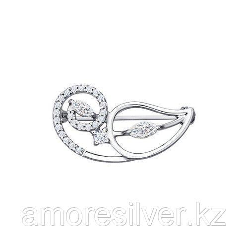 Брошь из серебра с фианитами  SOKOLOV 94040071