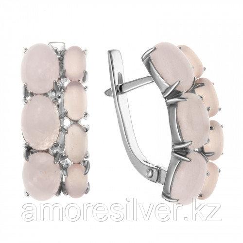 Серебряные серьги с кварцем розовым    Teosa 200-947-RQ