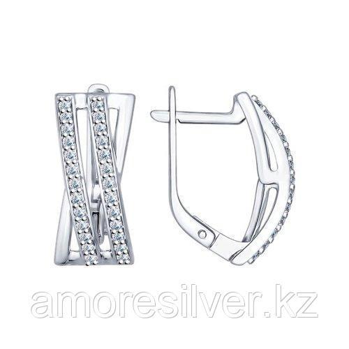 Серьги из серебра с фианитами    SOKOLOV 94022217
