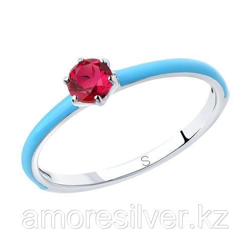 Кольцо из серебра с эмалью и красным корунд (синт.)   SOKOLOV 94012768 размеры - 16 18 18,5 19