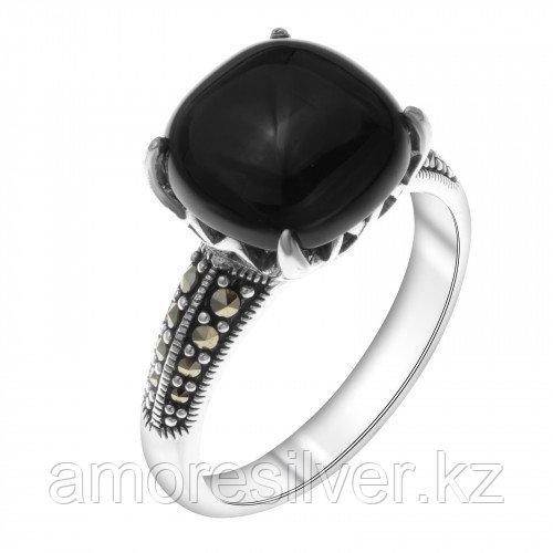 Кольцо из серебра с марказитом и ониксом    Teosa HR-693-ON размеры - 18,5 19,5