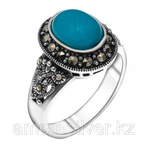Кольцо из серебра с бирюзой синт. и марказитом   Teosa HR-0790-TQ размеры - 19