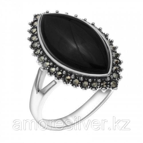 Кольцо из серебра с марказитом и ониксом    Teosa HR-1045-ON размеры - 18 19
