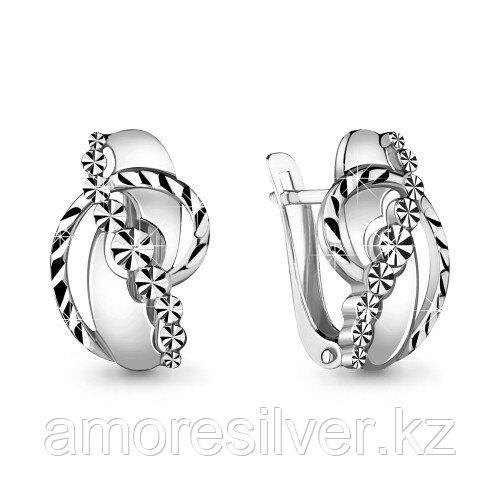 Серьги Aquamarine серебро с родием, без вставок 33683.5