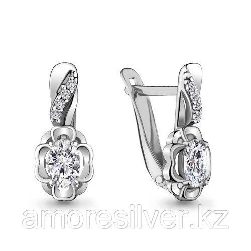 Серьги Aquamarine серебро с родием, фианит, фантазия 48203А.5