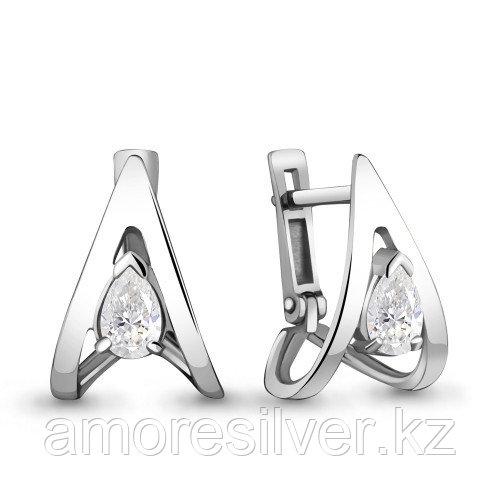 Серьги Aquamarine серебро с родием, фианит, фантазия 48224.5