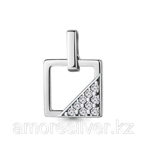 Подвеска Aquamarine серебро с родием, фианит, квадрат 24335А.5