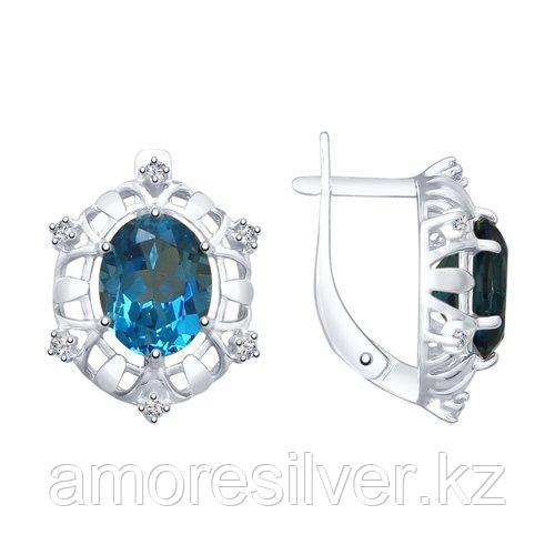 Серьги SOKOLOV серебро с родием, топаз фианит  92022022