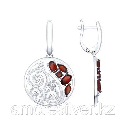 Серьги SOKOLOV серебро с родием, гранат 92021466