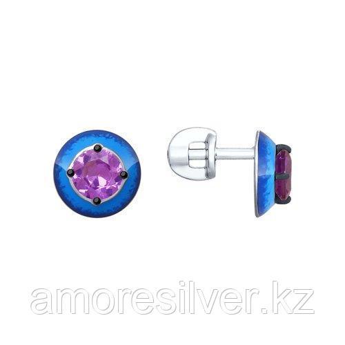 Серьги SOKOLOV серебро с родием, ситал синт. эмаль 92021881