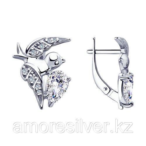 Серьги SOKOLOV серебро с родием, фианит  94023311