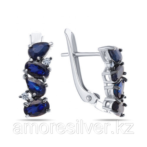 Серьги Teosa серебро с родием, сапфир нат. (u) фианит иск., с английским замком, дорожка E-DRGR00862-SP