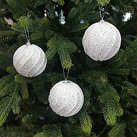 Белые шары для украшения новогодней ёлки или интерьера - 8 см (в упаковке 3 шт), фото 1