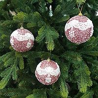 Розовые шары для украшения новогодней ёлки или интерьера - 8 см (в упаковке 3 шт)