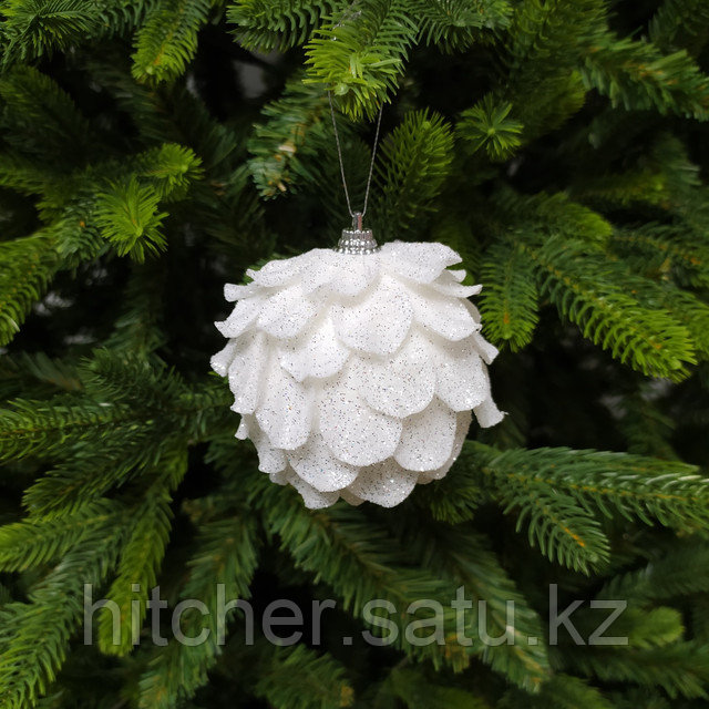 Белые шары для украшения новогодней ёлки или интерьера - 8 см (в упаковке 3 шт)