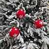 Красные шары для украшения новогодней ёлки или интерьера - 8 см (в упаковке 3 шт)