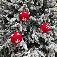 Красные шары для украшения новогодней ёлки или интерьера - 8 см (в упаковке 3 шт), фото 1