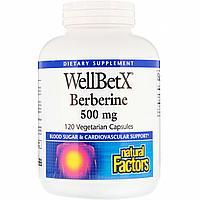 Берберин 500 мг 120 капсул, WellBetX