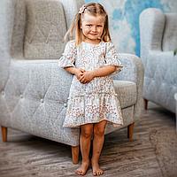 Льняное детское платье с воланами на рукавах белого цвета с цветочным принтом