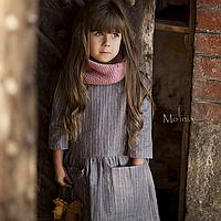 Льняное детское свободное платье с карманами в сером цвете 104
