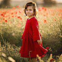 Льняное детское платье красного цвета 134