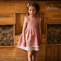 Льняное детское платье пыльно-розового цвета