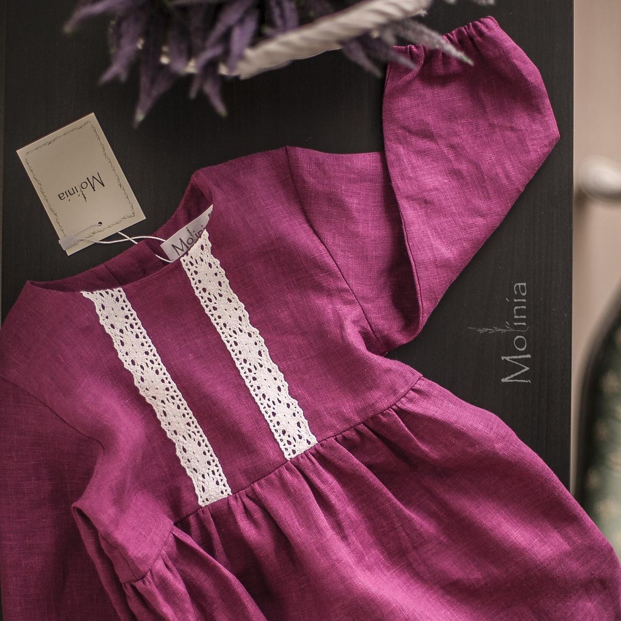 Льняное детское платье в ягодном цвете - фото 4