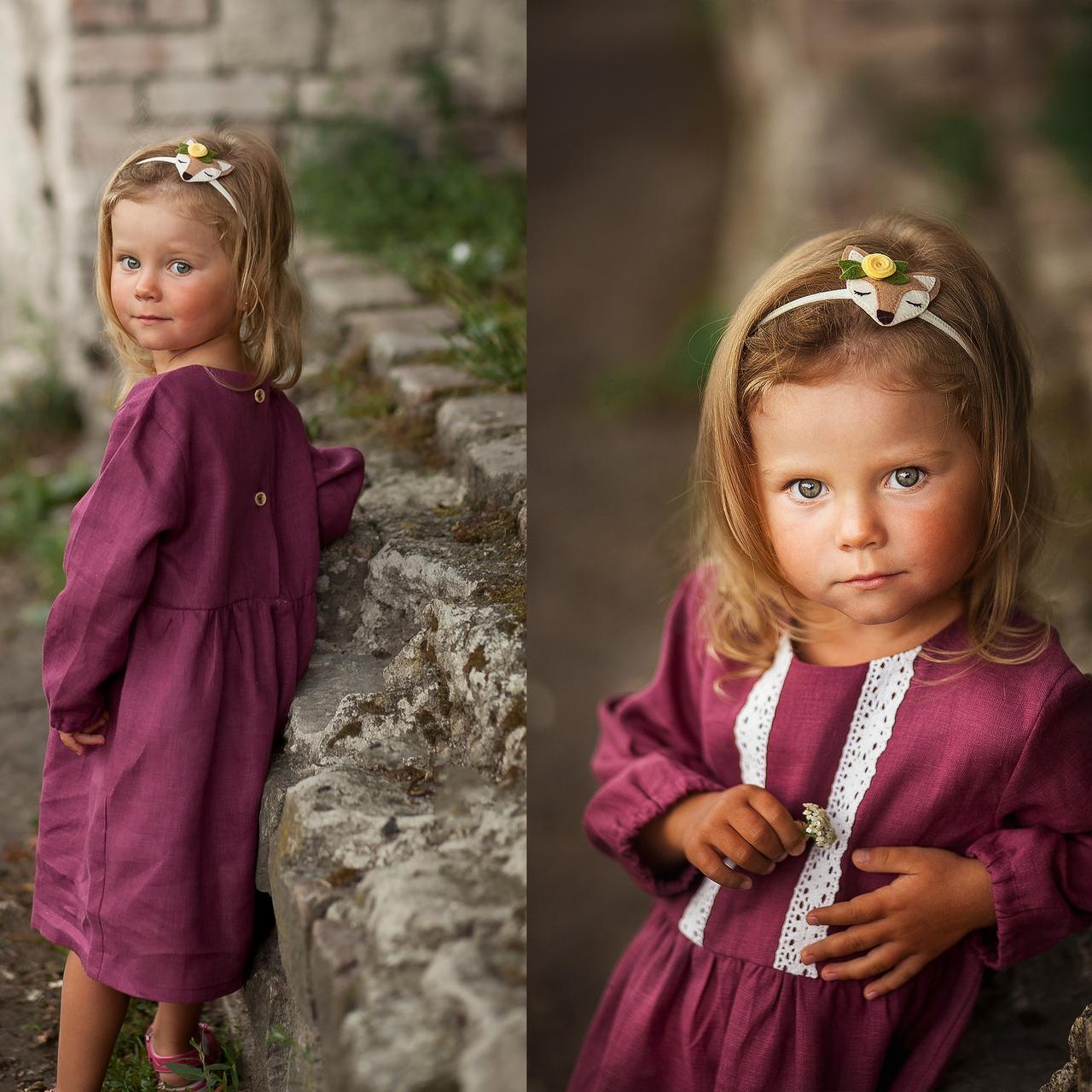 Льняное детское платье в ягодном цвете - фото 2