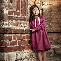 Льняное детское платье в ягодном цвете 140