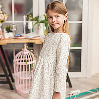 Льняное детское свободное платье в белом цвете с растительным принтом (лаванда)