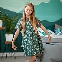 Льняное детское платье изумрудного цвета с растительным принтом 116