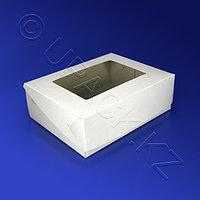 Kazakhstan Упаковка для пирожного 16,5х24х10см картон с окном белая 100шт/уп