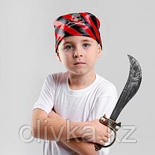 Набор пирата сабля, бандана в чёрно-красную полоску с черепом, р-р: 50×50 см