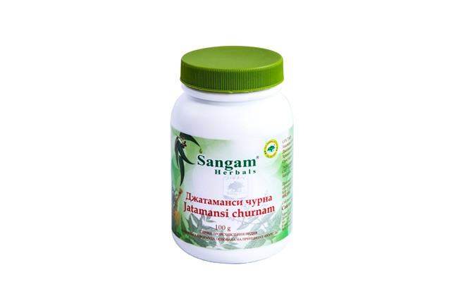 Джатаманси чурна, 100 гр, Sangam Herbals,  эликсир молодости, успокоительное средство и тоник для мозга.