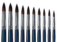 Байкал кисть Колонок круглая №12 d-6.0, цельнотянутая обойма из меди, длинная ручка,синего цвета