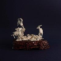 Великолепная композиция Олени. Символ изобилия, счастья и долголетия. Слоновая кость.