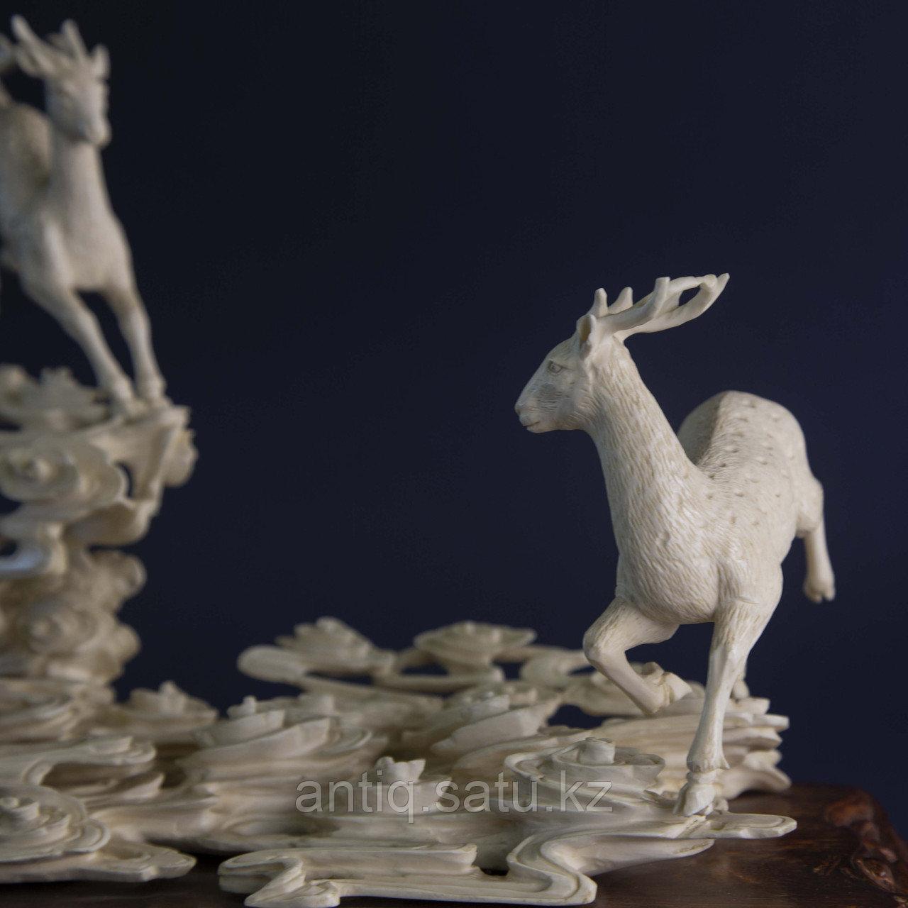 Великолепная композиция Олени. Символ изобилия, счастья и долголетия. Слоновая кость. - фото 4