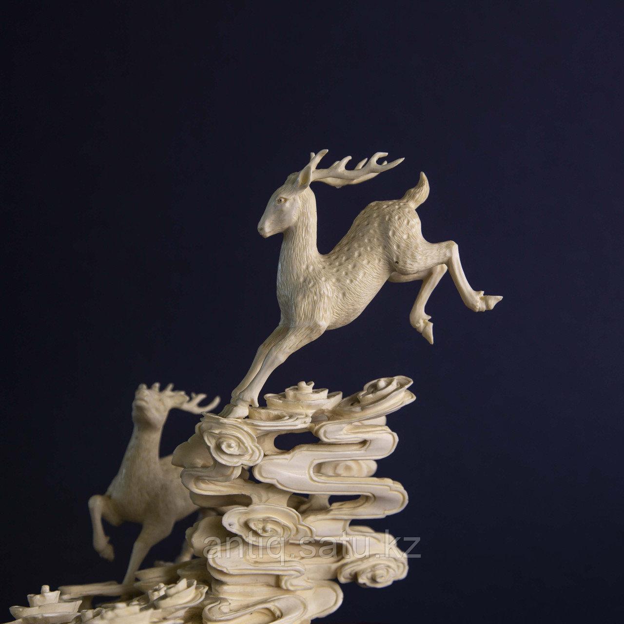 Великолепная композиция Олени. Символ изобилия, счастья и долголетия. Слоновая кость. - фото 6