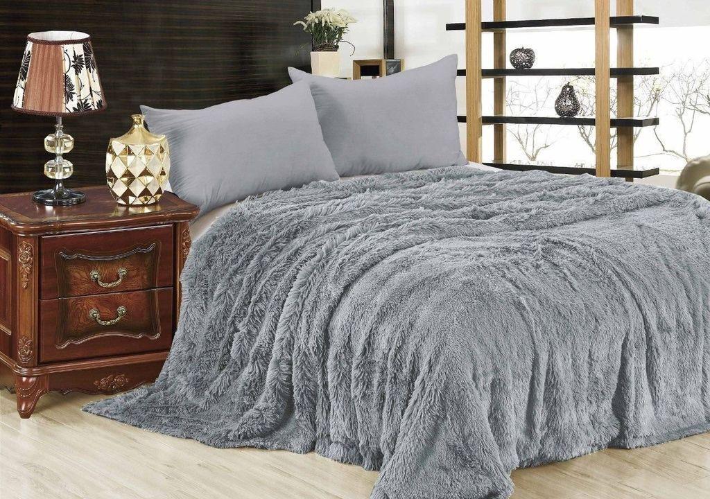 Меховой плед/ покрывало, размер 2,0 спальный, цвет серый