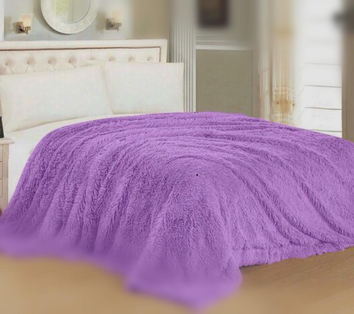 Плед -покрывало/ травка, размер 2,0 спальный, цвет сиреневый