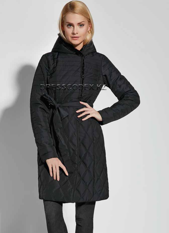 Куртка удлиненная черная с пояском