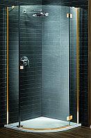 Душевая кабина полукруглая Almatea PDJ 900*900*1950 (прозрачное стекло, золото, правая) 30702-09-01N