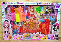 8847A Modern elegant design кукла +15платьев, сумочка и раческа, 47*32см