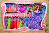 1035 Lovely Кукла в пышном платье с дочкой,9платьев,чемодан,туфли и аксесс., 45*32см