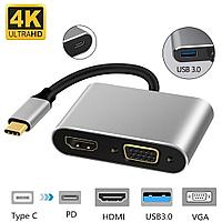 Type-C Хаб 4 in 1 USB-C to HUB PD / HDMI / VGA / USB