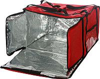 Термосумка Luxstahl на 5-6 пицц 450х450х300 мм фольгированная XXL с вентиляцией красная