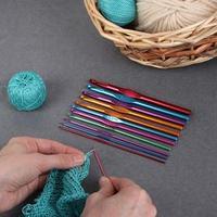 Набор крючков для вязания, d  2-8 мм, 14,5 см, 12 шт, цвет МИКС