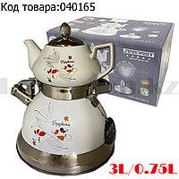 Набор чайный двойной чайник для кипячения воды со свистком и заварочный чайник с ситом керамика Осенние листки