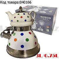 Набор чайный двойной чайник для кипячения воды со свистком и заварочный чайник с ситом керамика Горошек