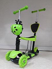 Самокат Детский Scooter с родительской ручкой и сидением